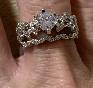 New 2 piece CZ 2 kt sterling silver wedding ring 7 for Sale in Inverness, IL