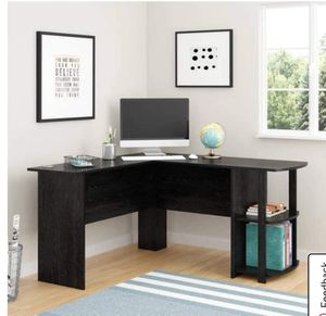 L Desk with Bookshelves, Black Oak (in box) 2 left $99.00 Desk fits perfectly in a corner, but provides plenty of space for all your office essential for Sale in Houston, TX