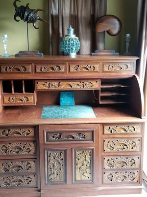 Antique hand carved teak wood roll top desk and miscellaneous silver pieces, MOVING SALE this and a lot more must go for Sale in Tampa, FL