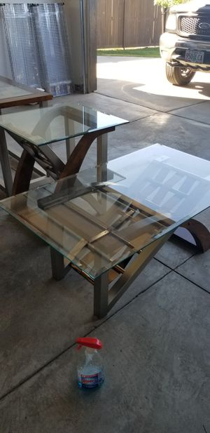 Glass and wood coffee table set for Sale in Bend, OR