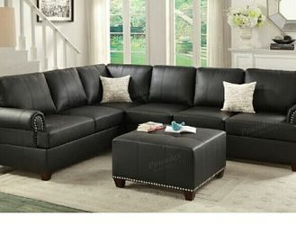 Black Bonded Leather Sofa Sectional Couch for Sale in Downey,  CA