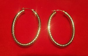 "14k Gold Rose Color Diamond Cut Hoop Oval Earrings 2.65 Grams New 1 3/4"" for Sale in Los Angeles, CA"