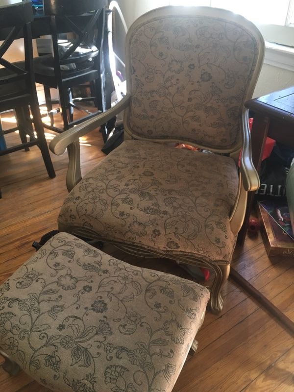 Tan with Gold Trim Chair and Matching Stool