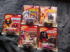 Johnny Lightning Marvel Die-Cast Metal Cars Daredevil Wolverine Spiderman Hulk Captain America for Sale in Henderson, NV