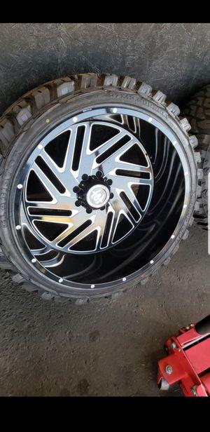 26x14 black hardcore offroad rims 8 lug 8x165 wiht New MUD tires 37 1350 26 lt for Sale in Phoenix, AZ
