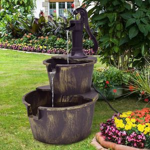 2Tier Rustic Vintage Style Barrel Water Fountain Garden Yard Outdoor 27in Tall Pump Included for Sale in Rio Linda, CA