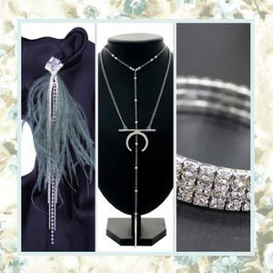 3PC SET EARRINGS NECKLACE BRACELET BLING OSTRICH FEATHER SILVER BLING RHINESTONE DIAMOND DANGLE DROP MOON LAYER JEWELRY BUNDLE LOT for Sale in Las Vegas, NV