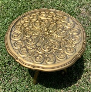Vintage Mid Century Syroco Gold Floral Hollywood Regency Glass Top End for Sale in St. Petersburg, FL