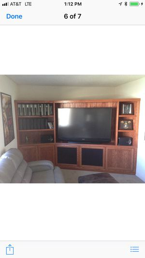 Beautiful custom 10feet X 6feet oak entertainment center for Sale in Las Vegas, NV