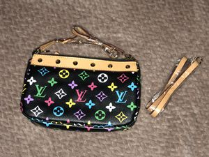 Louis Vuitton clutch bag by Takashi Murakami in natural leather and monogrammed canvas, multicolored and black coated for Sale in Manassas, VA