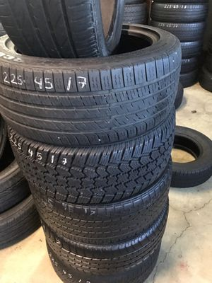 225/45/17. Mixed tires 60% tread for Sale in Tigard, OR
