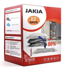 Vacuum Storage Bags, Space Saver Bags 12 Pack (4 Jumbo,4 Large,2 Medium,2 Small) Double-Zip Seal with Hand-Pump for Home and Tra for Sale in Alhambra,  CA