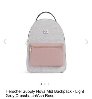 Herschel Supply Nova Mid Backpack - Light Grey Crosshatch/Ash Rose for Sale in Whittier, CA