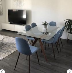 Mid Century Blue Modern Upholstered Dining Chairs for Sale in Houston,  TX