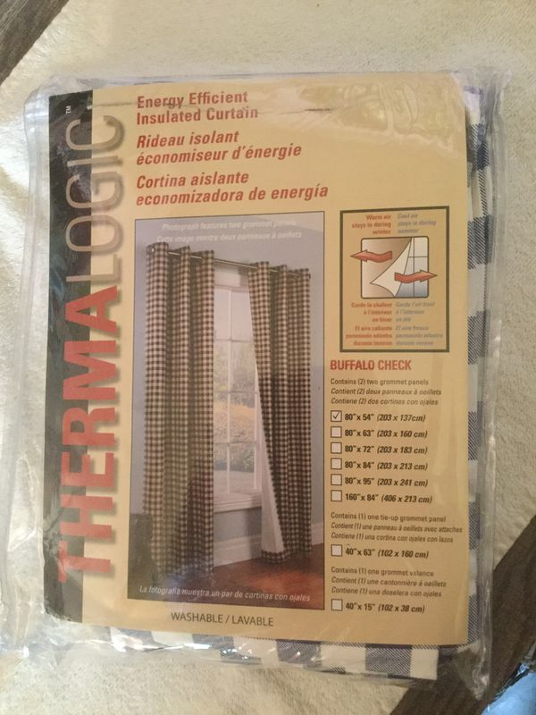 thermalogic check grommet top window curtain blue 40x54