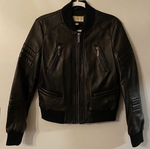 Michael Kors Leather Bomber Jacket for Sale in Brookline, MA