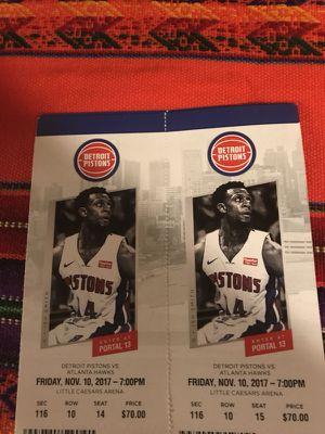 Detroit Pistons vs Atlanta Hawks Tickets Friday 11/10 for Sale in Detroit, MI