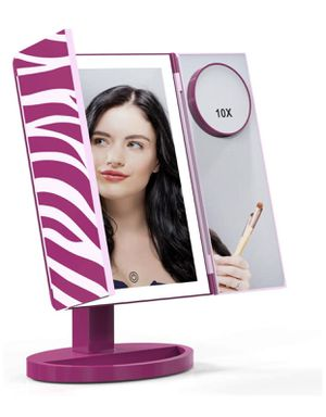 Makeup Mirror, Glamfields 360° Vanity Mirror with 44 LED Lights, Large Trifold Lighted Makeup Mirror with Portable 10X Magnification Mirror, Detachab for Sale in Piscataway Township, NJ
