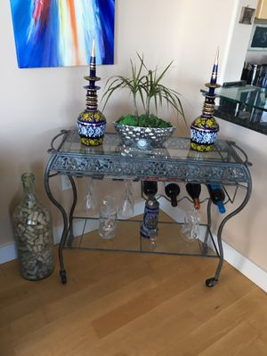 Silver antique bar with glass on top for sale for Sale in San Diego, CA