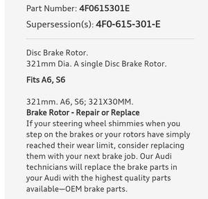 Audi A6- S6 BRAKE DISC for Sale in Denver, CO