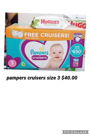 Pampers cruisers size 3 free pack of wipes for Sale in Los Angeles, CA