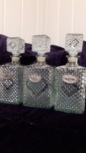 1900s antique liquor decanter set w/sterling silver tags for Sale in Fresno, CA