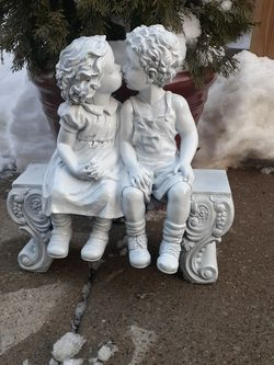 Small Outdoor Garden Fountain Boy And Girl Sitting On Bench for Sale in Blue Island,  IL