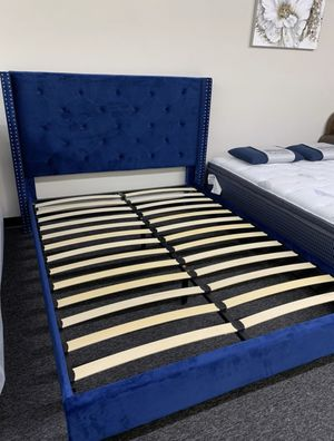 New Blue Velvet Platform Bed Frame : Full / Queen / King / Cal King : Mattress Set Sold Separately - No Box Spring Required for Sale in San Ramon, CA