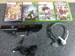 Xbox 360 Kinect bundle with games and new headphones for Sale in Washington, DC