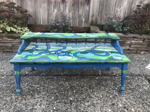 Beautiful artist painted coffee table/ or TV stand for Sale in Sammamish, WA