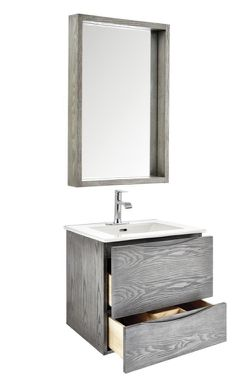 City Loft 24 in. W x 18-1/2 in. D Wall Hung Bath Vanity in Grey w/ Vitreous China Top in White & Mirror by Home Decorators Collection MRP: $431 for Sale in Cleveland,  OH