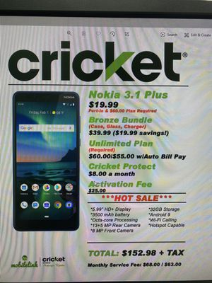 Nokia 3.1+ for Sale in Bridgeville, DE