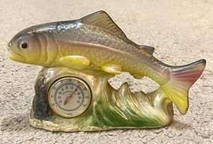 Vintage Antique 1950s Glazed Ceramic Fish Figurine Air Thermometer Pottery Decoration for Sale in Chapel Hill, NC