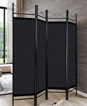 New in box 63x71 inches tall 4 panels room divider privacy screen separator steel frame and fabric black color tabique for Sale in Covina, CA