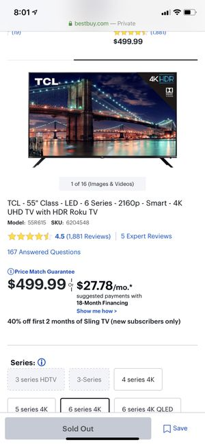 TCL Roku HD 6series 4K tv brand new still in box for Sale in Fresno, CA