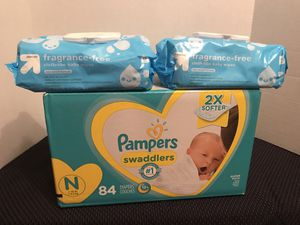 Pampers newborn diapers and wipes bundle for Sale in Lilburn, GA