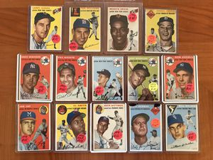 * (13) 1954 TOPPS BASEBALL CARDS * WHITEY FORD, TED WILLIAMS * VG CONDITION * for Sale in Lafayette, CA