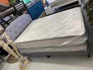 Furniture mattress- Queen bed frame + mattress & box spring for Sale in McClellan Park, CA