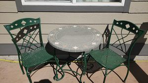 Patio bistro table and chairs, frames need paint for Sale in Colorado Springs, CO