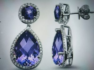 13 Carat Amethyst and Diamond 14k White Gold Drop Earrings for Sale in Rancho Cucamonga, CA