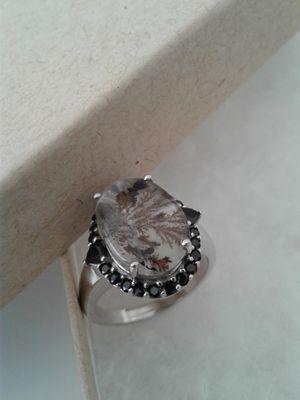 Genuine Rutilated Quartz Ring, Size 8, Platinum over Sterling Silver for Sale in Woodbridge, VA