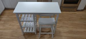 White Wooden Counter Height Kitchen Table w/ Bar Stools for Sale in Portland, OR