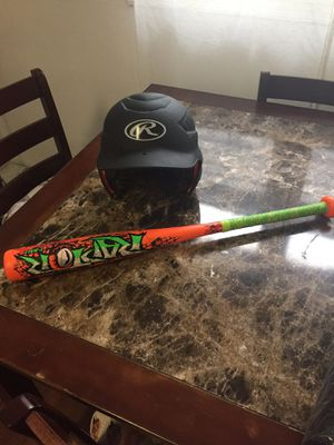 Baseball playing cap and bat for Sale in Kearny, NJ