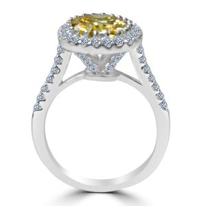 3.5CT(9x11mm) intense Canary Diamond Veneer Oval Center w/Halo Pave set Sterling Silver modern style Ring. 635R0245 for Sale in San Francisco, CA