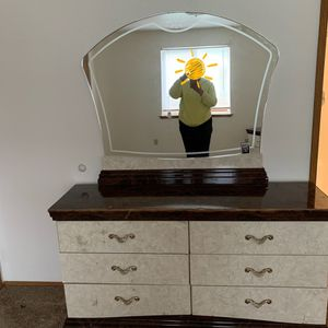 Long Beautiful Dresser With Mirror And 2 Nightstands And Headboard. Delivery available for Sale in Kent, WA