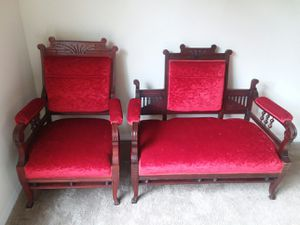 Set of 2 Antique Walnut Red Velvet Sofa & Chair for Sale in Cary, NC