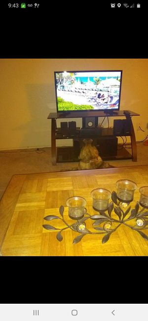 TV stand black glass for Sale in Manteca, CA