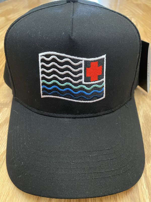 NEW PINK DOLPHIN WAVES FLAG SNAPBACK HAT IN BLACK