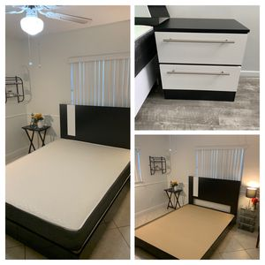 New queen 3 pieces bedroom set. Bed frame , mattress and night stand FREE DELIVERY and installation for Sale in Cooper City, FL
