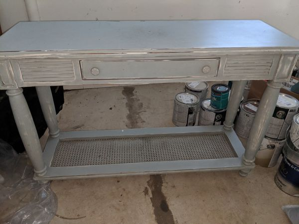 Distressed light blue console table